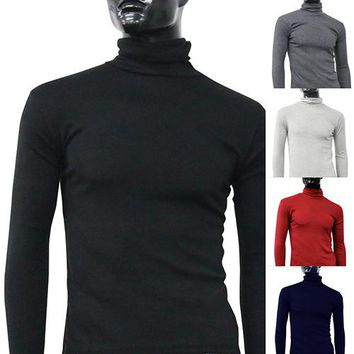 Men's Fashion Knitted Roll Turtle Neck Pullover Long Sleeve Slim Fit Sweater Top
