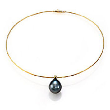 Mizuki - Sea Of Beauty 15MM-20MM Black Tahitian Pearl, Diamond & 14K Yellow Gold Collar Necklace - Saks Fifth Avenue Mobile