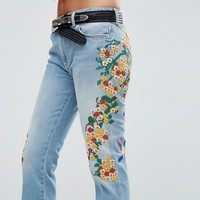 Free People Embroidered Girlfriend Jean at asos.com