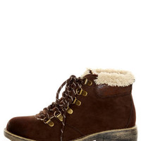 Rocket Dog Timber Chocolate Brown Faux Fur-Trimmed Hiking Boots - $61.00