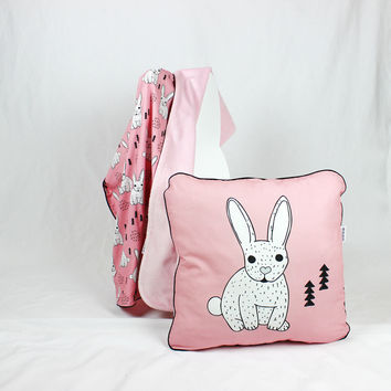 Baby Pillow, Toddler Cushion Bedding Pillows, Decorative pillows for Kids Bed Pillows, Girl nursery decor Pink, Rose, Black, Bunny, Rabbit