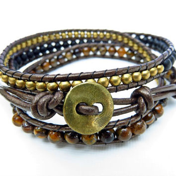 Tiger Eye Triple Beaded Wrap Bracelet