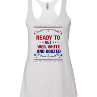 Wed White And Boozed Patriotic Bachelorette Tank Top