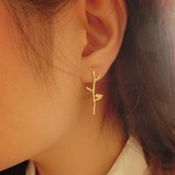 Elegant Bird Tree Branch Shaped Alloy Woman Earrings Gold Sliver Plated Jewelry Accessories SM6