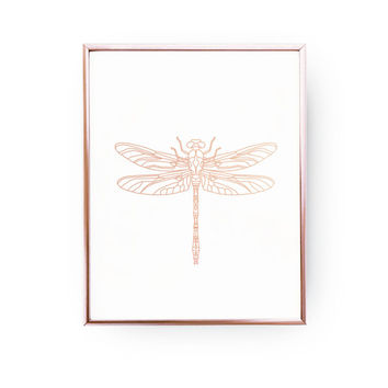 Dragonfly Print, Geometric Dragonfly, Dragonfly Art, Rose Gold Foil, Dragon Wall Art, Insect Poster, Rose Gold Nursery Print,Insect Wall Art