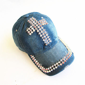 Studded Cross Baseball Cap-Unisex Cap-Baseball Cap-Fashion Cap-Steam Punk Cap-Denim Cap.