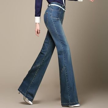 Free Shipping High Quality Promotion Plus Size Women's Boot Cut Jeans Female High Wais