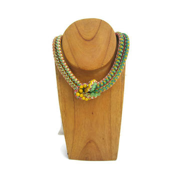 Love Knot Rope Necklace with Crystals in Green Shades -  Bib Necklace