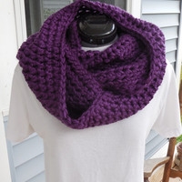 Crochet Loop Scarf, Purple Chunky Scarf, Portland Wine Crochet Infinity Scarf, Fall Winter, Women's Accessory, Cowl