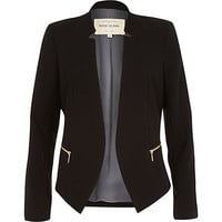 River Island Womens Black crepe fitted notch collar jacket