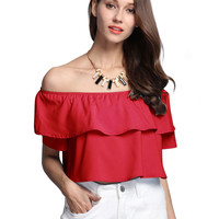 Red Off Shoulder Ruffle Edge Short Sleeve Blouse
