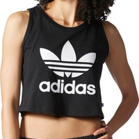 """Adidas"" Fashion Casual Classic Clover Letter Print Round Neck Sleeveless Vest T-shirt Crop Top"