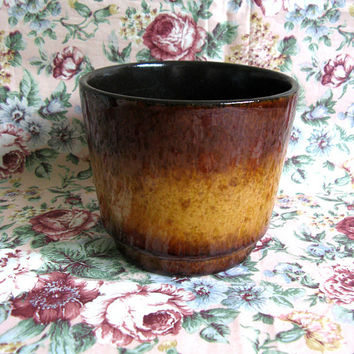 Vintage 1970s Vase Red-Brown West German Fat Lava Pottery Ceramic Planter