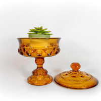 Amber Candy Dish Kings Crown Thumbprint Lidded Glass Candy Bowl
