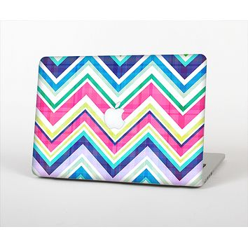 The Vibrant Pink & Blue Layered Chevron Pattern Skin Set for the Apple MacBook Air 11""