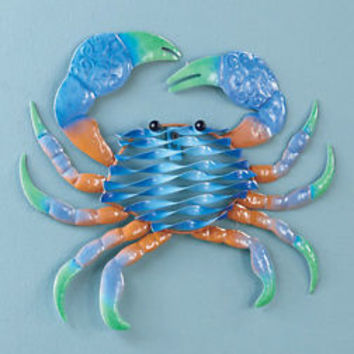 Crab Metal Sealife Wall Art Wall Hanging Pool Side Gate Fence House Decor