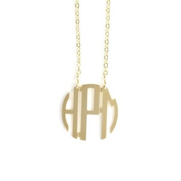 Small Gold Plated Filigree Circle Monogram Necklace