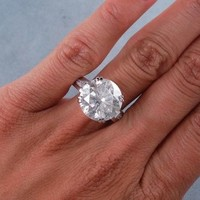 7.25 CARATS CT TW ROUND CUT DIAMOND ENGAGEMENT RING H  SI3-I1