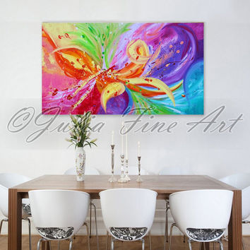 Large Original Abstract Painting, Rainbow Floral Art, Flower, Modern, Colorful, Zen, Ready to Hang, Wall Decor