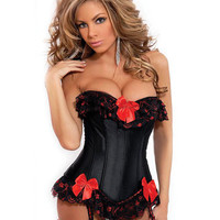 Strapless Burlesque Corset W-ruffle & Bow Accents, Removable Garters & G-string Black Medium