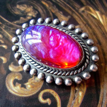 Dragons Breath Opal Sterling Silver Brooch-Pin, Oval, Vintage