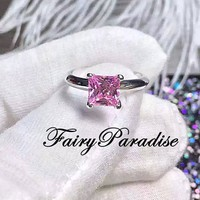 1 Ct (6 mm) Princess Cut Fancy Pink Solitaire Engagement Ring, Promise Rings, Man Made Diamond Simulants, Silver Anniversary Ring for Women