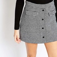 Fashion Union Heritage Check Aline Mini Skirt with Pockets
