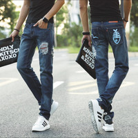 Ripped Holes Slim Korean Print Jeans [10366810755]