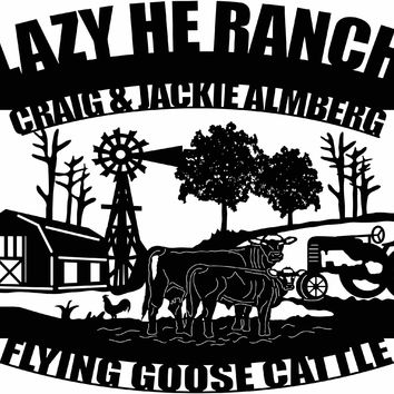 CRAIG & JACKIE ALMBERG, Sign Farm scene of Barn, cow, calf, rooster, windmill and old tractor