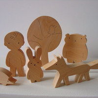 Gift ideas - Wooden toy set - boy and forest friends