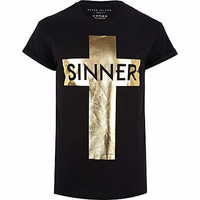 Black metallic cross sinner print t-shirt - print t-shirts - t-shirts / vests  - men