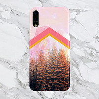 Faded Pink Mountain Chevron x Fall Forest - iPhone X Case - iPhone 8 Plus - Protective iPhone Case - Galaxy s8 Case - Google Pixel 2 Case