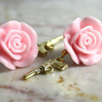 SALE Pink Rose Post Earrings Golden Pistol Gun Cowgirl Cute Studs EXGALABUR