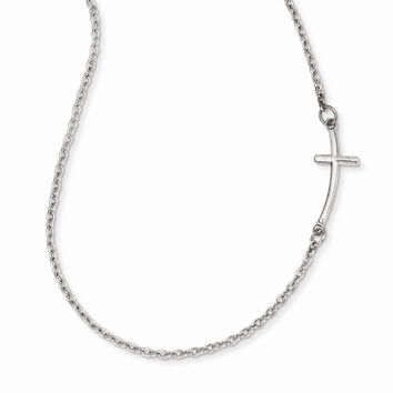 14k White Small Sideways Curved Cross Necklace