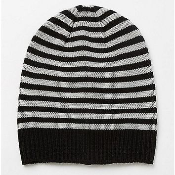 Gray and Black Striped Slouchy Beanie - Spencer's