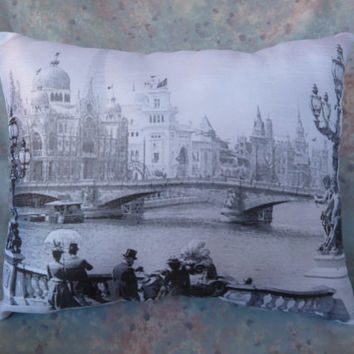 Paris Pillow 11 x 9 Victorian Paris printed on