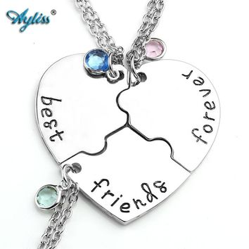Ayliss 3x 4x Alloy Silvery Slice Heart Puzzle Colorful Crysal Pendant Necklace bff best friends forever and ever Friendship Gift