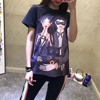 """Gucci Unskilled Worker"" Fashion Cartoon Portrait Pattern Print Short Sleeve Casual T-shirt Women Top Tee"