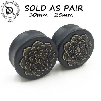 ac DCCKO2Q BOG-1 Pair Black Natural Wood Double Flared Ear Tunnel Plug Expanders Earlet Gauges With Mandala Flower Body Piercing Jewelry
