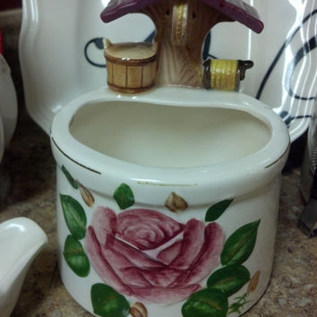 Vintage Planter, Tilso Wishing Well with Pink Rose, Shabby Chic Decor