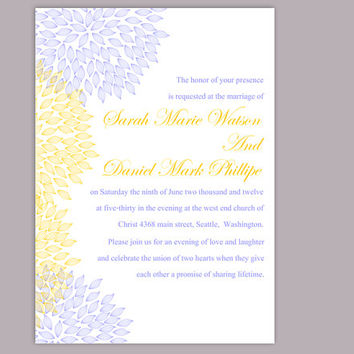 DIY Wedding Invitation Template Editable Word File Instant Download Printable Floral Invitation Yellow Gold Invitation Blue Invitations