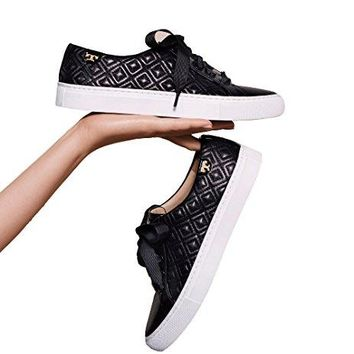 Tory Burch Marion Quilted Leather Sneaker, Black
