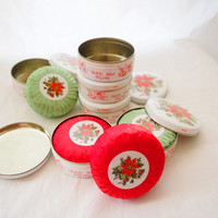 NOS Fragrant Soap in Poinsettia Tins from England - 3.5oz Bayberry or Pine Scent - New 1990's- Holiday Gift Basket, Housewarming, Guest Bath