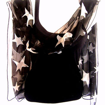 Hand Painted Silk Scarf, Stars, Black White, Chiffon Silk Scarf, Gift For Her