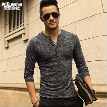 DCCKON3 men henley shirttee tops long sleeve stylish slim fit t shirt button placket casual men outwears popular design
