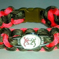 Custom Flamingo Pink and Green Camo Browning Buckmark Cobra Paracord Bracelet with Image Buckle