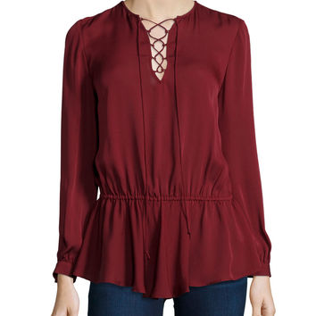 North Lace-Up Long-Sleeve Top, Wine, Size: