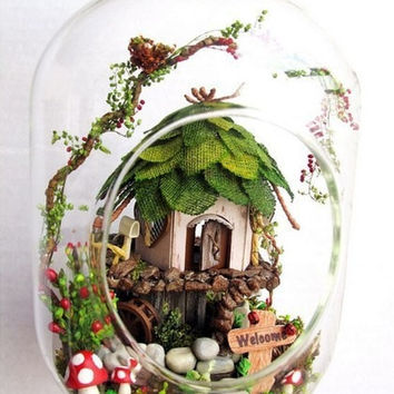 GN01 Jungle Witch diy glass ball toys wooden doll houses miniature assembling dollhouse kit free shipping