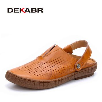Fashion Top Quality Mens Sandals Split Leather Summer Beach Casual Shoes Men Handmade Breathable Fisherman Shoes