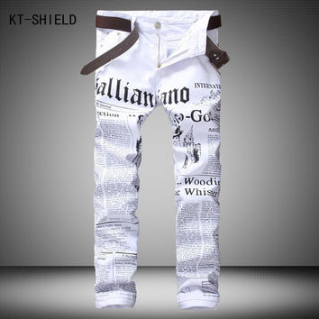 Men's Casual Slim Jeans with White Lettering